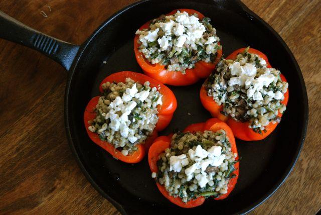 stuffed peppers in pan