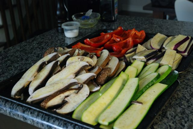 grilled vegetables prepped