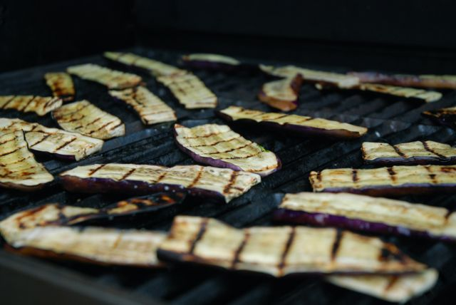 grilled vegetables eggplant on grill