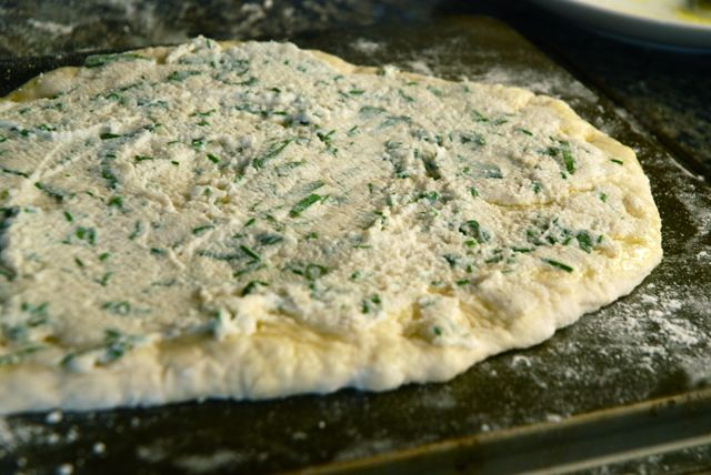 Asparagus Pizza - dough with cheese