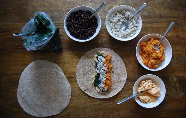 How to: Healthy Make Ahead Lunch – Sweet Potato, Black Bean and Kale Burritos
