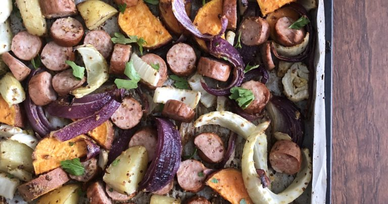 Roasted Vegetable and Sausage Sheet Pan Supper
