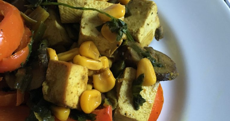 How To: Quickie Meal – Lime and Curry Marinated Tofu Stir Fry with Mushrooms, Red Peppers, and Corn