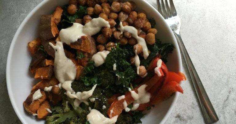 How To: Quickie Meal – Spice Roasted Chickpea and Sweet Potato Bowls with Tahini Sauce