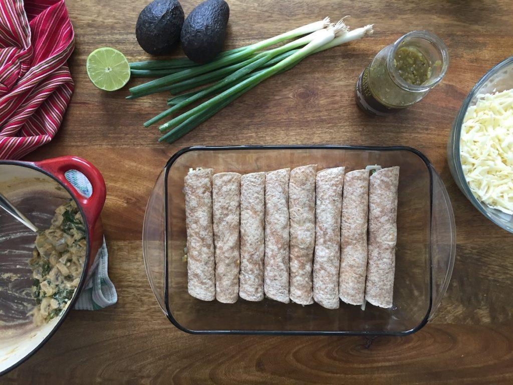 Vegetarian Green Chile Enchiladas