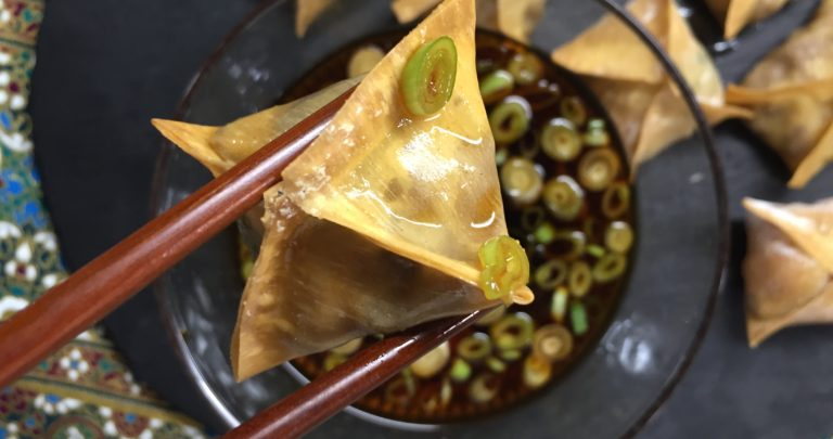 The Simplest Vegetarian Baked Wontons