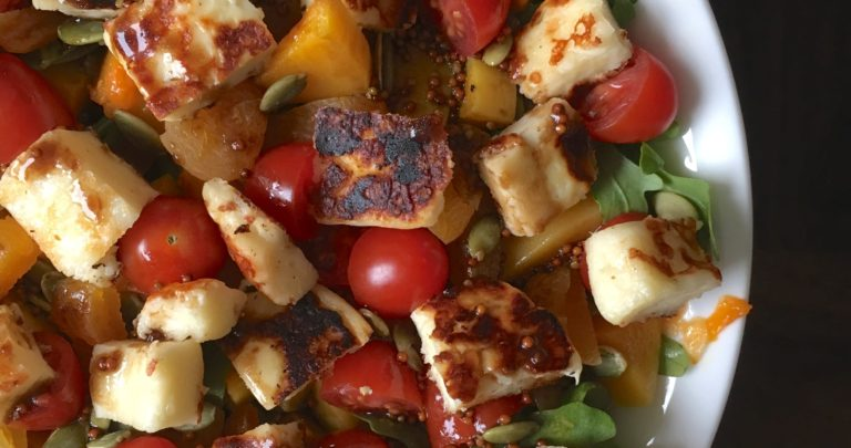 Maple Roasted Squash and Seared Halloumi Cheese Salad
