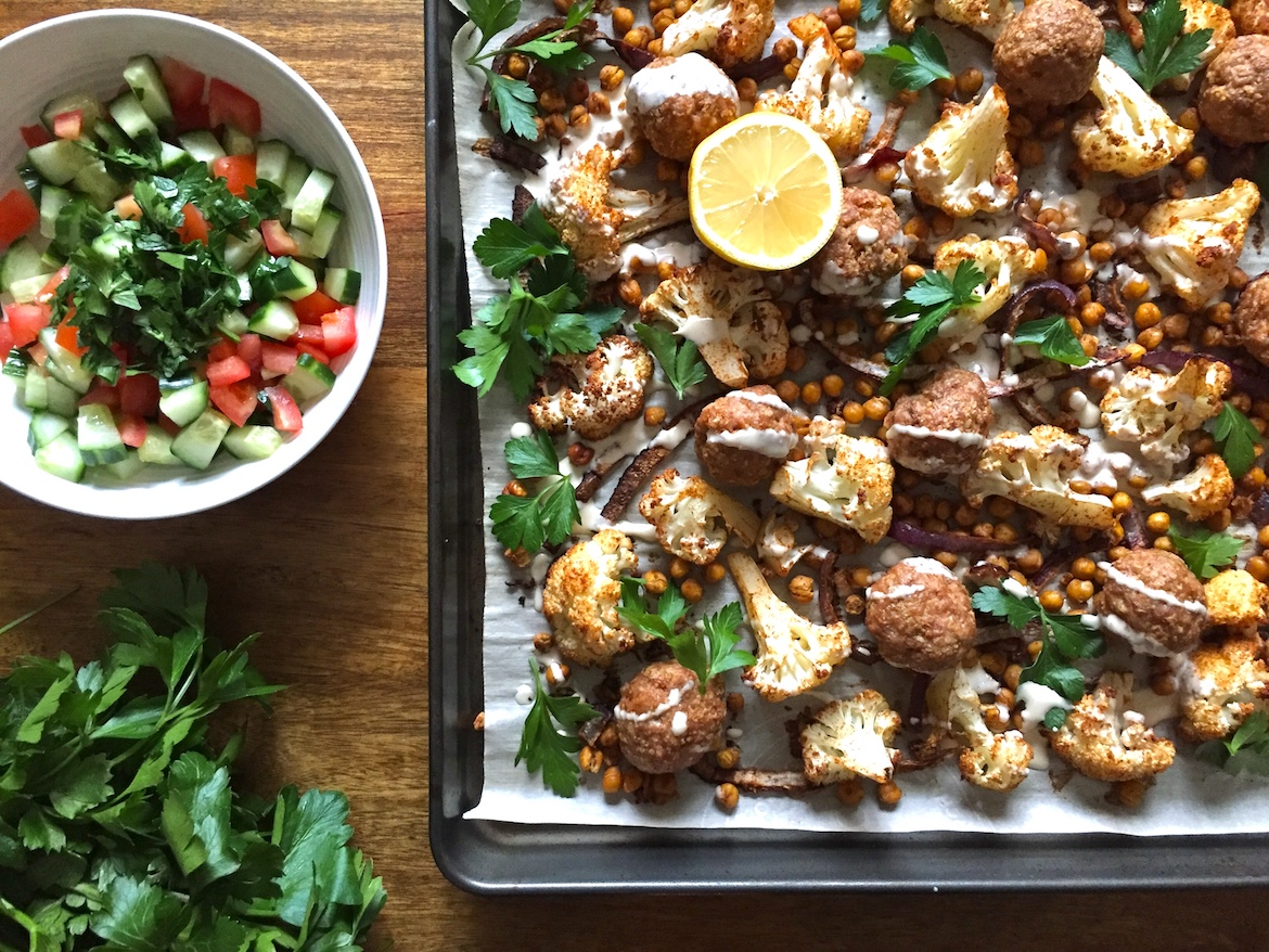 Middle Eastern Turkey Meatball Sheet Pan Dinner How To Eat