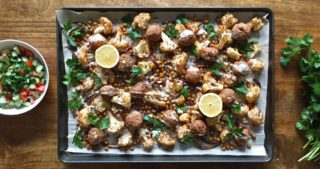 turkey meatball sheet pan dinner