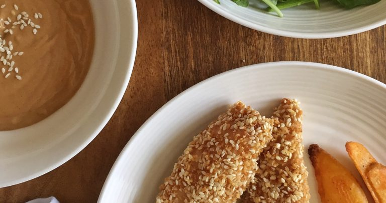 Sesame Turkey Strips with Peanut Dipping Sauce