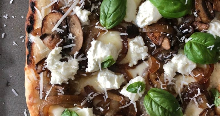 Grilled Caramelized Onion and Mushroom Pizza
