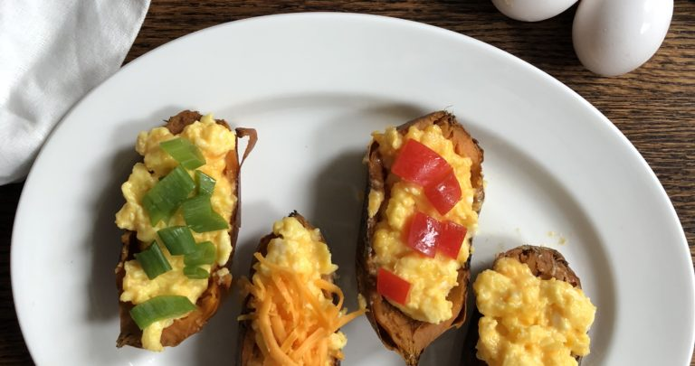 Make Ahead Cheesy Scrambled Egg Stuffed Sweet Potato Boats