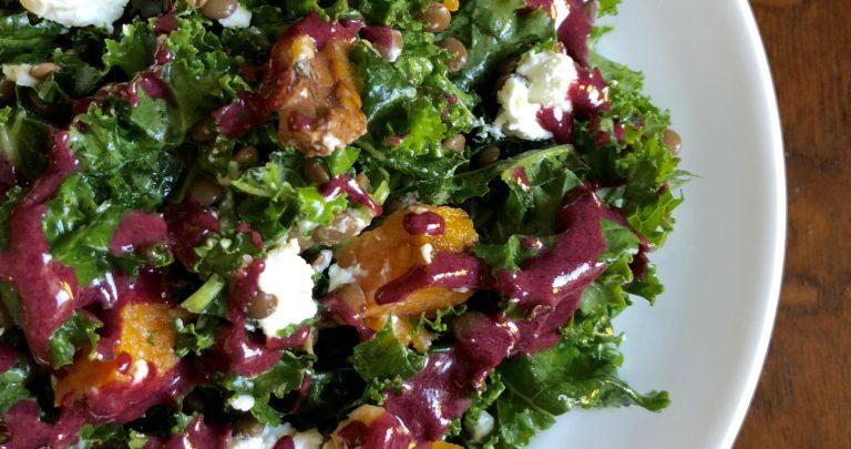 Roasted Sweet Potato and Lentil Kale Salad with Tahini