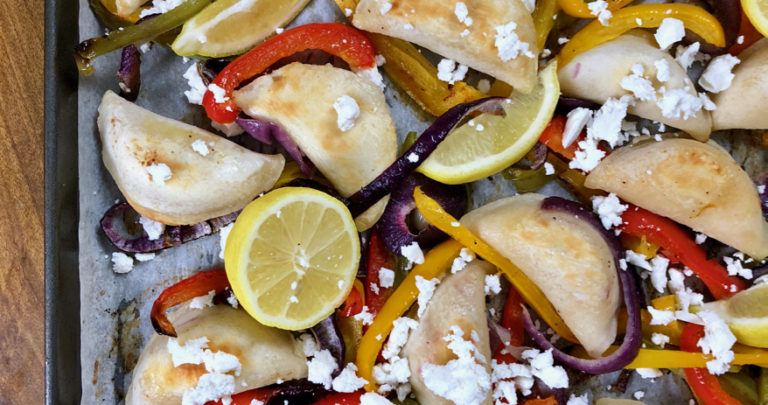 Sheet Pan Perogies with Feta and Lemon