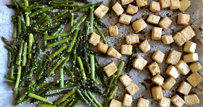 Sheet Pan Sesame Tofu and Asparagus