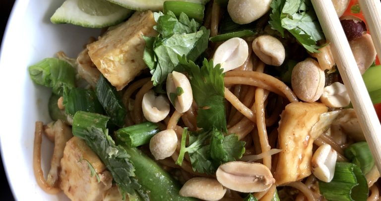 Peanut Noodle Salad with Crispy Tofu