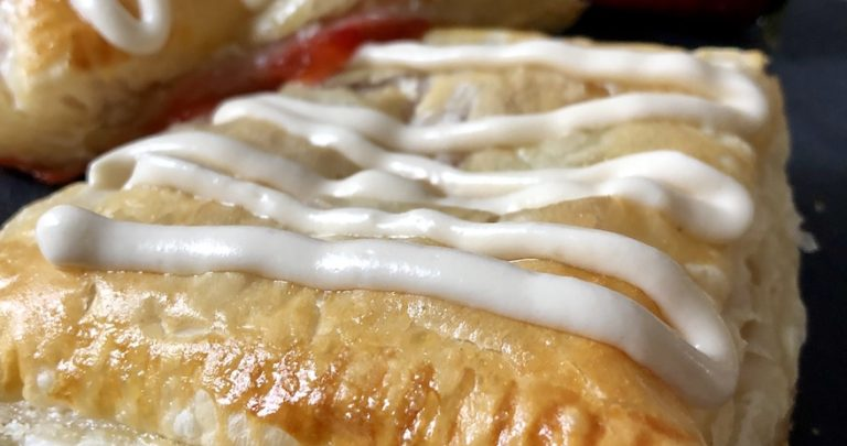 "Strawberry Rhubarb ""Toaster Strudels"" with Cream Cheese Icing"