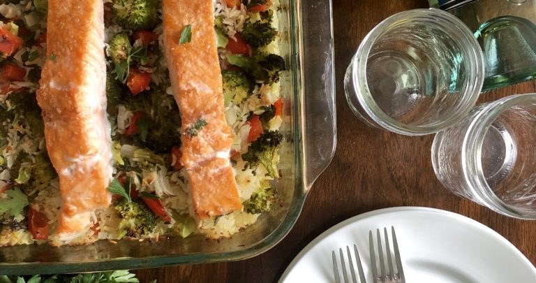 One Pan Salmon and Rice with Lemon White Wine Sauce