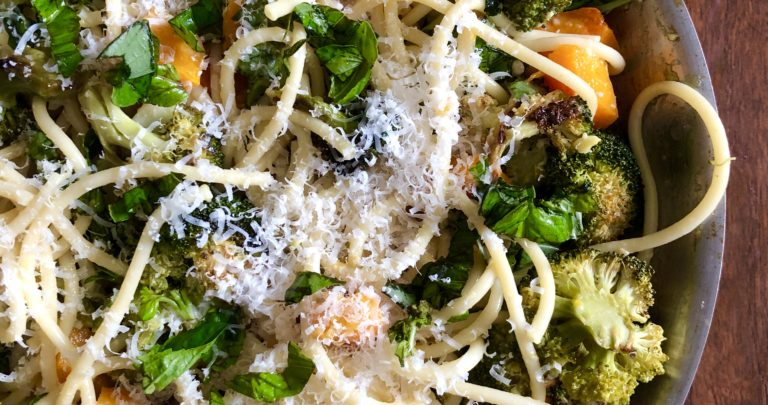 Roasted Butternut Squash and Broccoli Carbonara